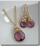 Pink quartz pendant and drop earrings