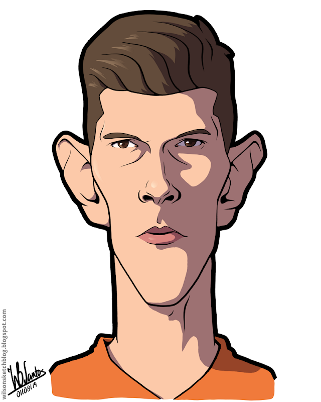 Cartoon caricature of Klaas-Jan Huntelaar.