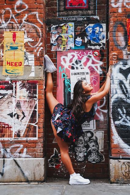 Kelly Fountain fashion photoshoot in Soho NYC wearing Parker New York