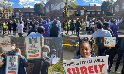Presidential aide, Garba Shehu, shares photos and videos of Nigerians staging pro-Buhari protest at the Abuja house within the UK