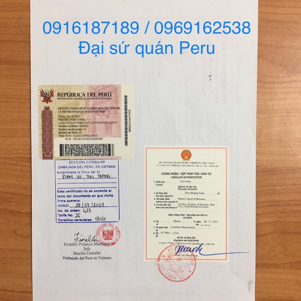 Chứng nhận Hợp pháp hóa lãnh sự tại ĐSQ peru