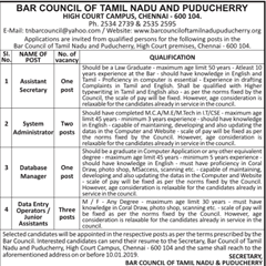 Bar Council of Tamil Nadu and Puducherry Jobs 2019 indgovtjobs