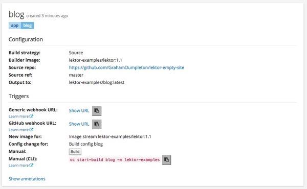 Openshift lektor build