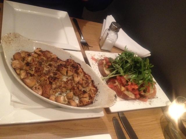 Garlic mushroom and tomato bruschetta served at La Cucina Brick Lane