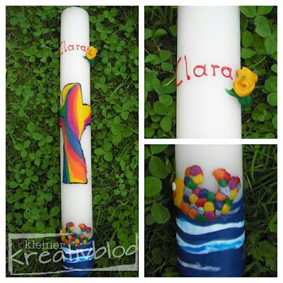 """kleiner-kreativblog: Taufkerze """"Regenbogenfisch"""""""