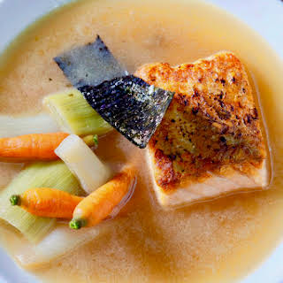 Leeks, Baby Carrots, And Salmon Poached In A Shiitake Dashi.