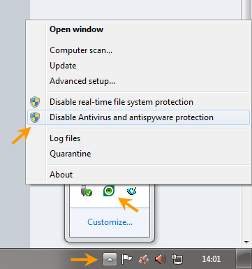 ปิดการทำงานของ NOD32 เพื่อดาวน์โหลดไฟล์หรือเข้าเว็บไซต์ที่ติดแบล็คลิสท์ Nod32dis04