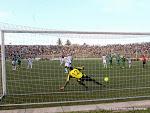 But des Léopards de la RDC  le 19/11/2014 au stade Tata Raphaël à Kinshasa lors du match contre la Sierra Leone, score: 1-3. Radio Okapi/Ph. John Bompengo