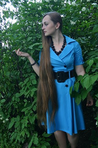 Portrait Beautiful Young Woman Luxuriant Healthy Long Hair