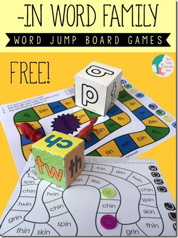 "FREE Word Family Board Game - This is such a fun, free pritnable game for kids in K-2nd grade to practice words from the  ""in"" family. (homeschool phonics)"