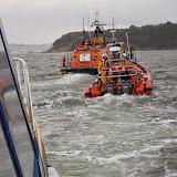 Poole ILB towing Dolphin III during a training exercise off Brownsea Island - 22 April 2014 Photo: RNLI Poole/Anne Millman