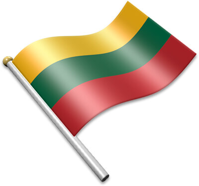 The Lithuanian flag on a flagpole clipart image