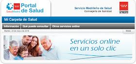 Consultar los datos clínicos y resultados de pruebas en la web madrid.org
