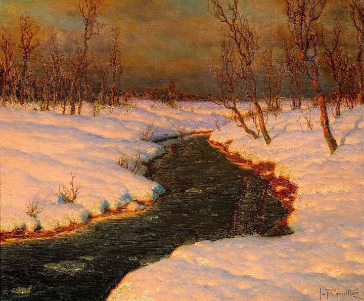 Ivan Fedorovich Choultse - Schneelandschaft mit einem Fluss bei Sonnenuntergang