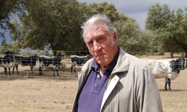Diego García de la Peña, a 65-year-old former bullfighter, has seen climate change affect his land near Malpartida de Plasencia in the western Spanish region of Extremadura. Photo: Sam Jones / The Observer