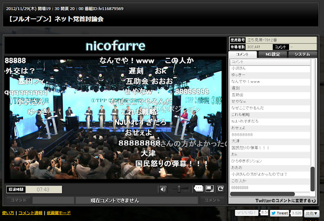 「ニコニコ動画」の10党首討論に視聴140万人超!野田首相と安倍総裁の一騎打ちならず消化不良