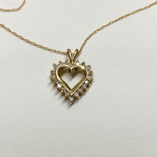 10K Gold and Diamond Heart Pendant Necklace