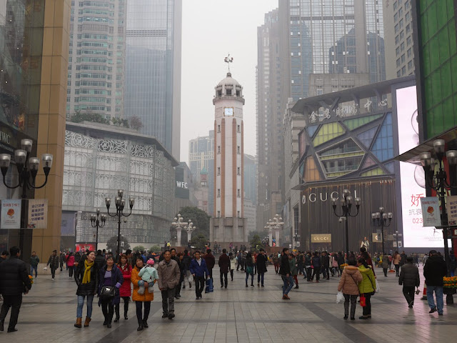 view of the Chongqing People's Liberation Monumentand the Jiefangbei Pedestrian Street's central square facing northeast