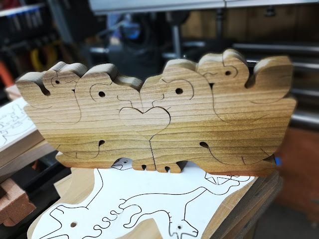 Tropical Bird Family Stacking Puzzle In The Shop Waiting For Sanding