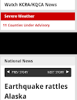 news site screenshot of severe weather warning over earthquake headline