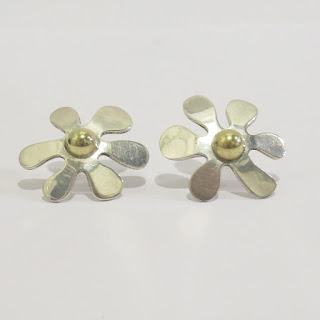 Sterling Silver and Vermeil Floral Earrings