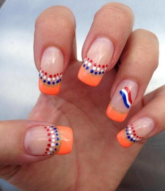 Lovely Orange Blue Nail Designs For Summer 2017