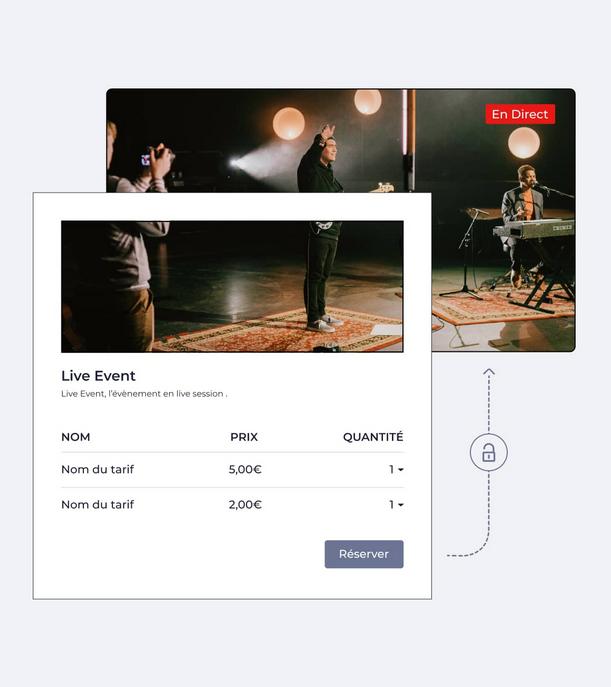 image représentant une billetterie en ligne qui donne accès à un évènement live streaming
