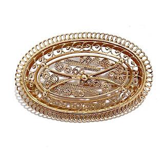 14K Gold Filigree Brooch Pendant