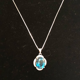 Sterling Silver & Blue Topaz Pendant Necklace