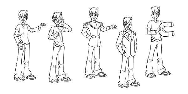 Cartoon boy poses