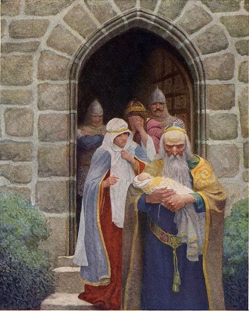 N. C. Wyeth - Merlin taking away the infant Arthur