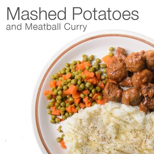 Mashed potatoes and meatball curry