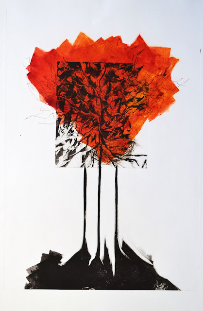"'Autumn Transition' 23""x15"" Monotype. Framed size 29""x23"" Available"
