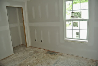 Picture of bedroom 3 view from inside the room with drywall installed