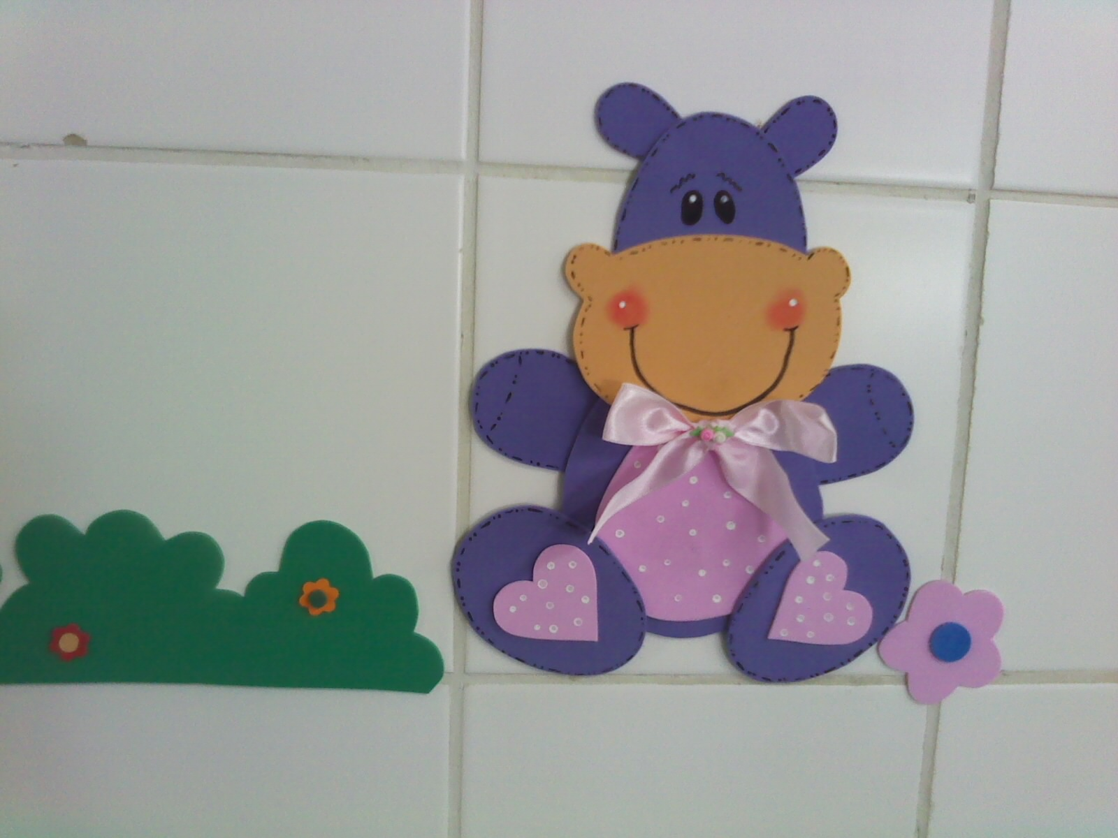 Decoração em EVA Hipopótamo # Decoracao De Banheiro Infantil Em Eva