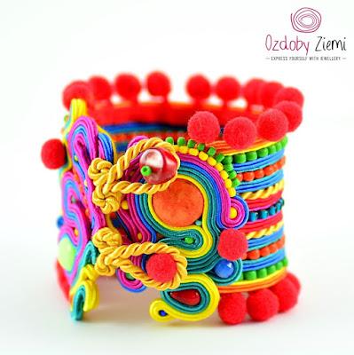 Colorful Soutache Cuff by Ozdoby Ziemi