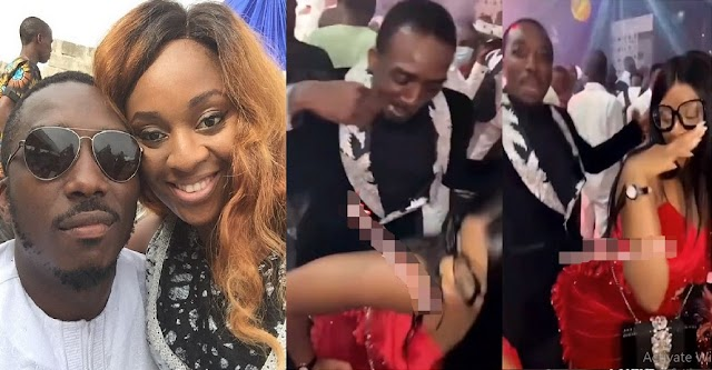 Comedian Bovi Caught Rocking His Wife As She Gives Him The Rumba Style At An Event [VIDEO]
