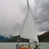 Silas Crosby sailing in Patagonia