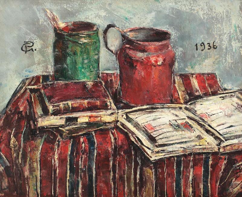 Gheorghe Petrașcu - Natură statică cu borcan cu pensule, carafă și cărți