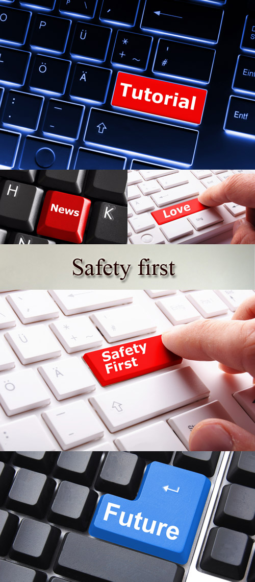 Stock Photo: The keyboard with special keys - safety first