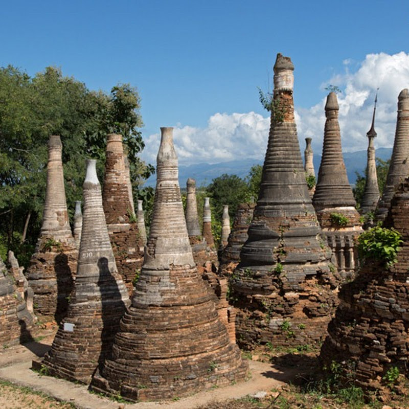 The Crumbling Ruins of 'Shwe Inn Thein' Pagodas of Indein, Myanmar