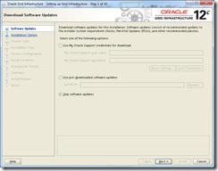 Oracle Grid Infrastructure 12c Installer - Software Updates