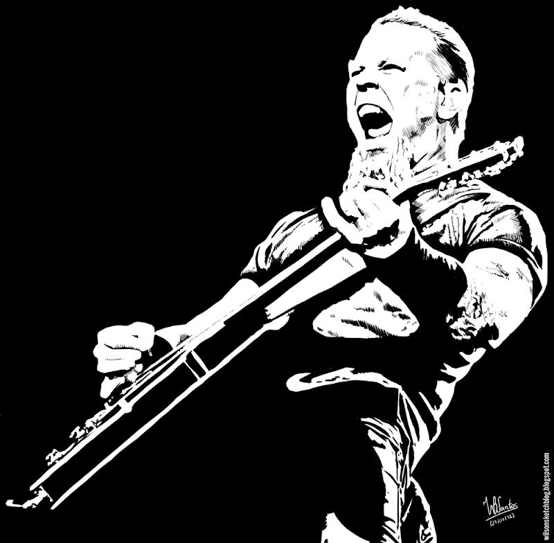 Ink drawing of James Hetfield (Metallica), using Krita 2.4.