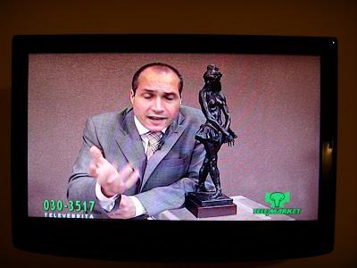 テレビで彫像を売り込む男性