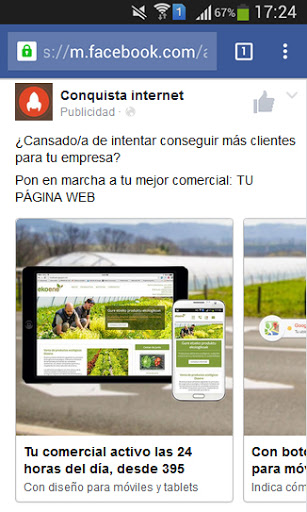 Anuncio en Facebook Conquista internet