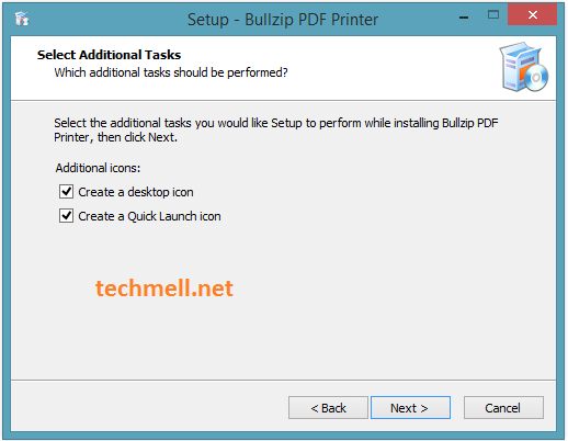 Select Additional Tasks for Bullzip PDF Printer Installation in Win 8.1