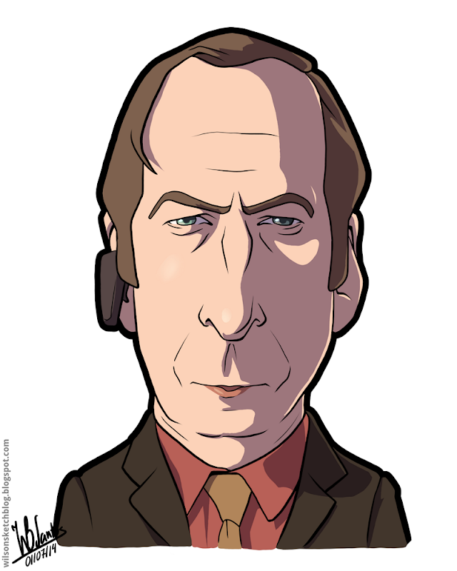 Cartoon caricature of Bob Odenkirk as Saul Goodman from Breaking Bad.