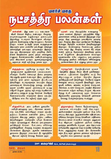 Monthly Rasi and Nakshathira Palangal