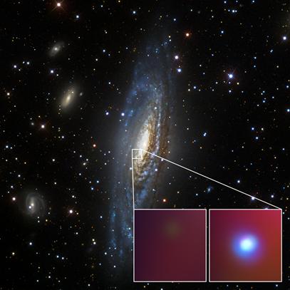 a galáxia NGC 7331 no visível e a supernova SN 2014C