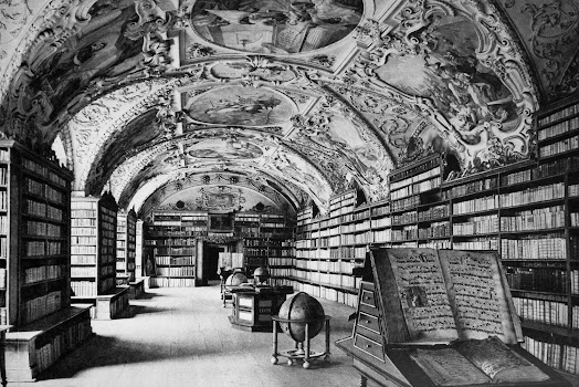 bibliotheek met rijk bewerkt plafond